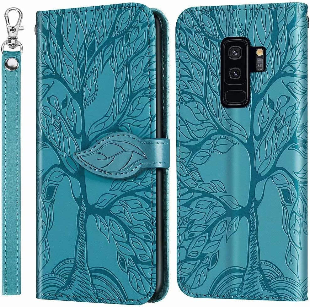 MEUPZZK Wallet Case for Samsung Galaxy S9 Plus, Embossed Tree Premium PU Leather [Folio Flip][Kickstand][Card Slots][Wrist Strap][6.2 inch] Phone Cover for Samsung Galaxy S9 Plus (R-Blue)