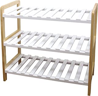 ダイカイ 木製ラック 折り畳み 収納 シェルフ おしゃれ な ホワイト×パイン材 3段ラック WH 55x25x50cm 83408