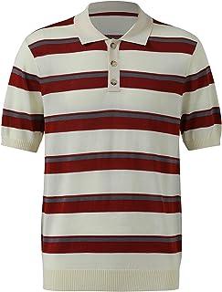 Men's Short-Sleeved Striped Half-Open Polo Shirt