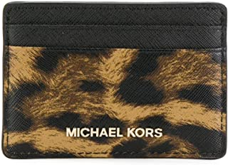 Michael Kors 32F7GF6D0Y Jet Set Leopard Saffiano leather Card holder for Women in BUTTERSCOTCH