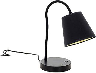 EXO Lighting - Lámpara de mesa MONTECARLO negra E27 entrada USB. Lámpara de escritorio orientable diseño juvenil
