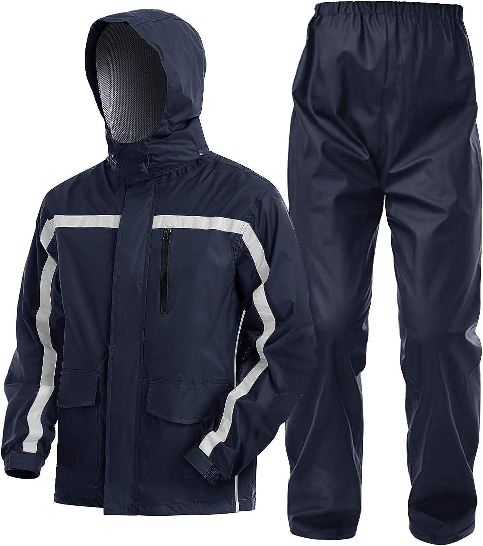 EKLENTSON Mens Rain Suits Waterproof Hooded Reflective Rainwear Jacket and Pants
