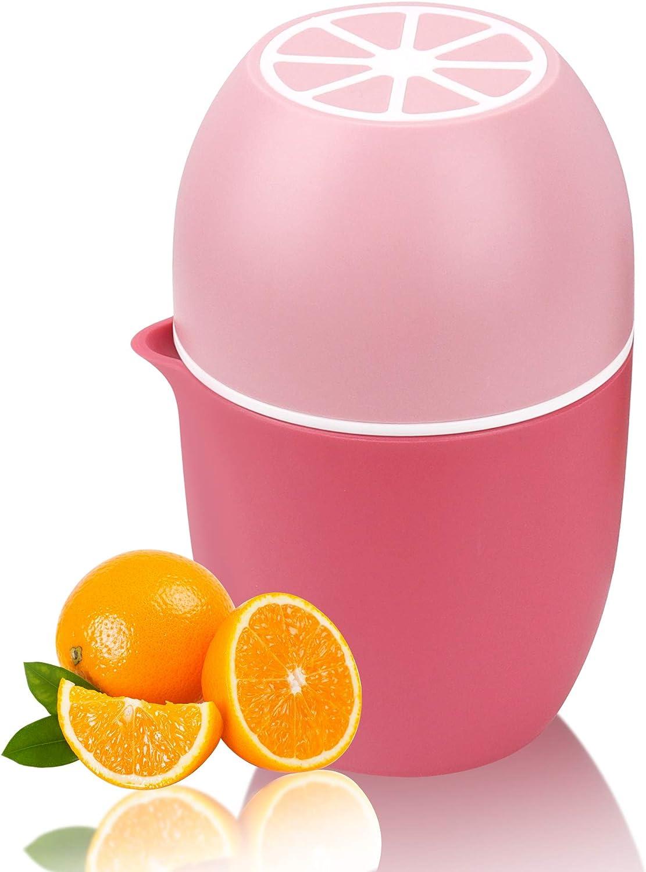 Lechin Exprimidor manual con diseño único en forma de limón, dos formas de uso para diferentes frutas (Rosa)