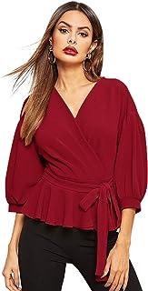 SheIn Women's Lantern 3/4 Sleeve V Neck Ruffle Blouse Tie Waist Wrap Peplum Top