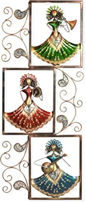 Collectible India Metal Playing Musician Lady Frame Wall Mounted & Hanging Art Sculpture Modern Arts Home Office Restaurant Decor(Size 52 x 21 Inches)