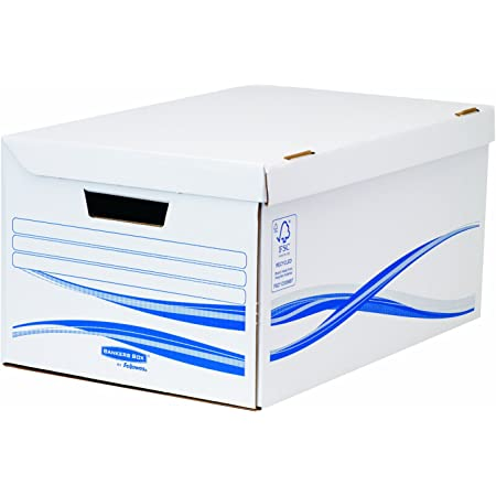 Fellowes 4460502 Bankers Box Basic Lot de 10 Conteneurs flip top Blanc/Bleu