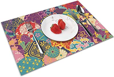 William Morris Strawberry Thief Placemats Set Of 4 For Dining Table Washable Woven Vinyl Placemat Non Slip Heat Resistant Kitchen Table Mats Easy To Clean Home Kitchen