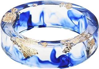 Kingfishertrade-ltd اليدوية الأزرق اللون مع ورقة الذهب الراتنج الشفاف / خاتم سحر البلاستيك للنساء/الرجال