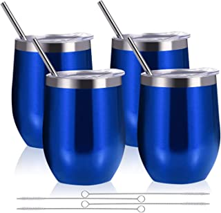 Zonegrace 4 pack Blue 12 oz Stainless Steel Stemless Wine Glass Tumbler Double Wall Vacuum Insulated Wine Tumbler with Lids Set of 4 for Coffee, Wine, Cocktails, Ice Cream Including 4 Straws