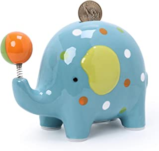 FORLONG Elephant with Interesting Spring Ball Ceramic Piggy Bank Coin Bank Blue