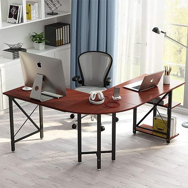 小树 L 形电脑桌 67 英寸现代角落电脑桌书房工作站游戏桌带架子家用办公室收纳