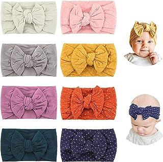 Makone Vendas del bebé (3-8 piezas) súper elásticas Suaves Nudo de bebé Turbante, Multicolor Hairband de los bebés recién ...