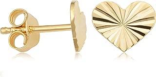 KoolJewelry 14k Yellow Gold Diamond-cut Heart Stud Earrings Minimalist Jewelry for Women
