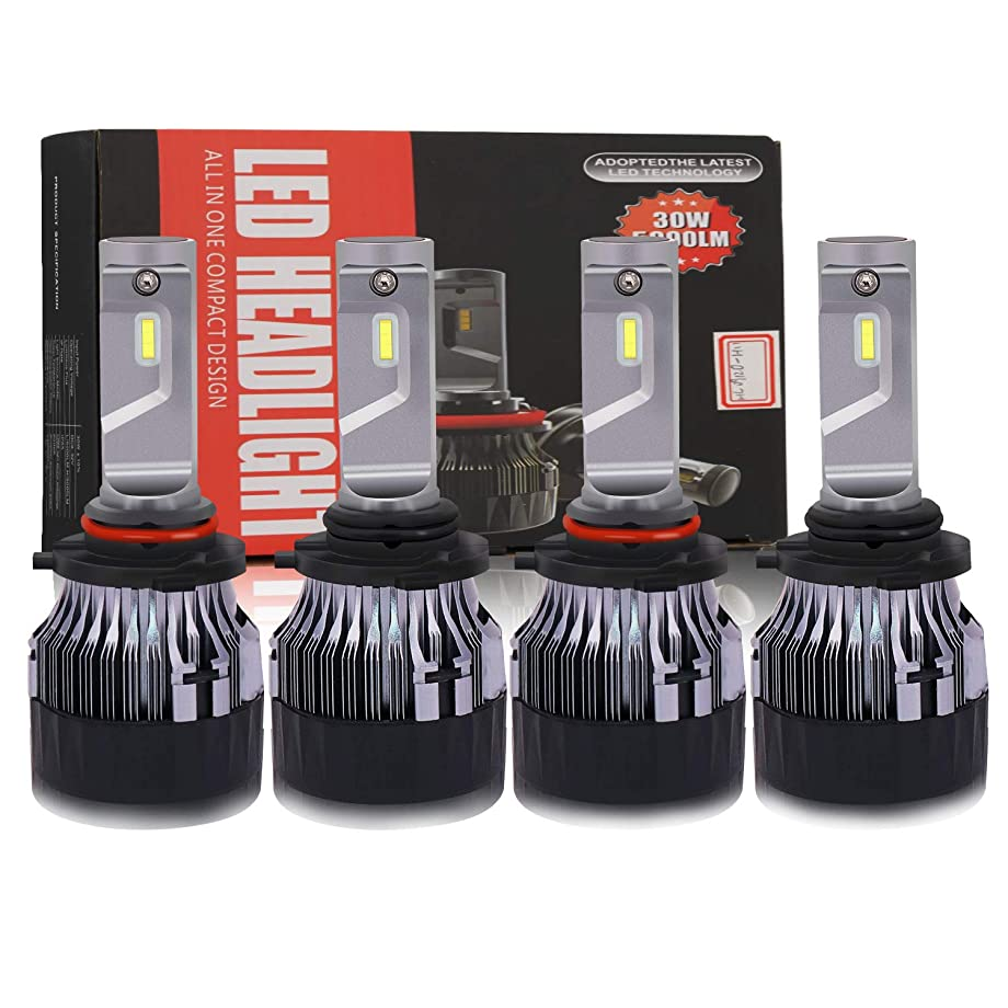 EASTBULL 9005+9006 LED Headlight Bulbs CREE Chips 10000Lm All-in-One Super Mini Headlamp Conversion Kit Cool White 3 Years Warranty (4 Pack)