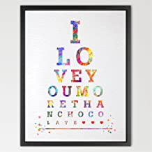 Dignovel Studios 8X10 Eye Chart I Love You More Than Chocolate Watercolor Art Print Typography Print Quote Poster Home Decor Birthday Gift Inspirational Art N144