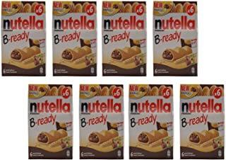 "Ferrero: ""Nutella B-ready NEW + NUTELLA "" a crisp wafer of bread in the form of mini - baguette stuffed with a creamy Nutella 6 pieces 4.6 oz (132g) Pack of 8 [ Italian Import ]"