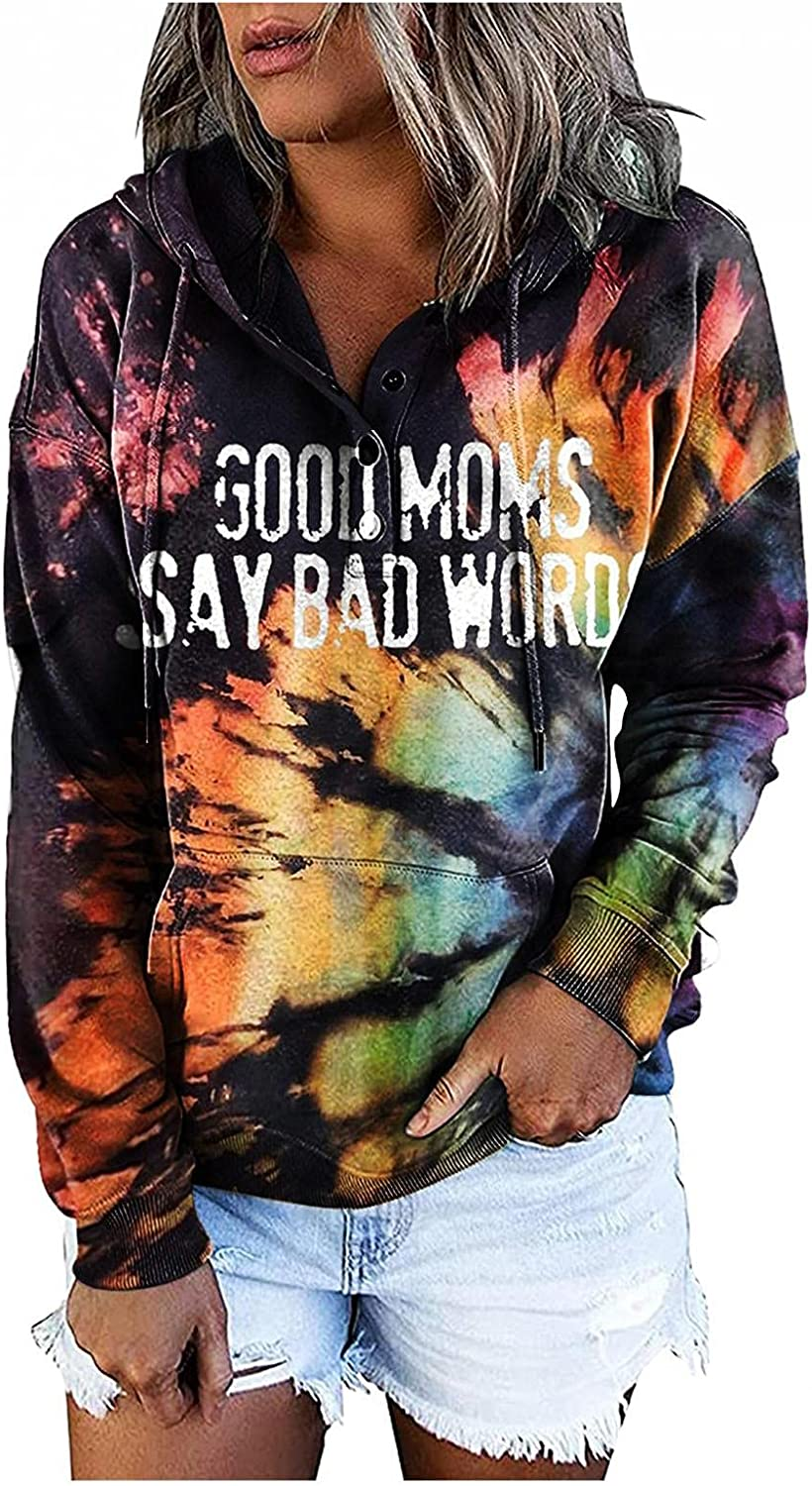AODONG Hoodies for Women Rainbow Tie Dye Button Down Hooded Sweatshirts Casual Long Sleeve Pullover Tops with Pocket