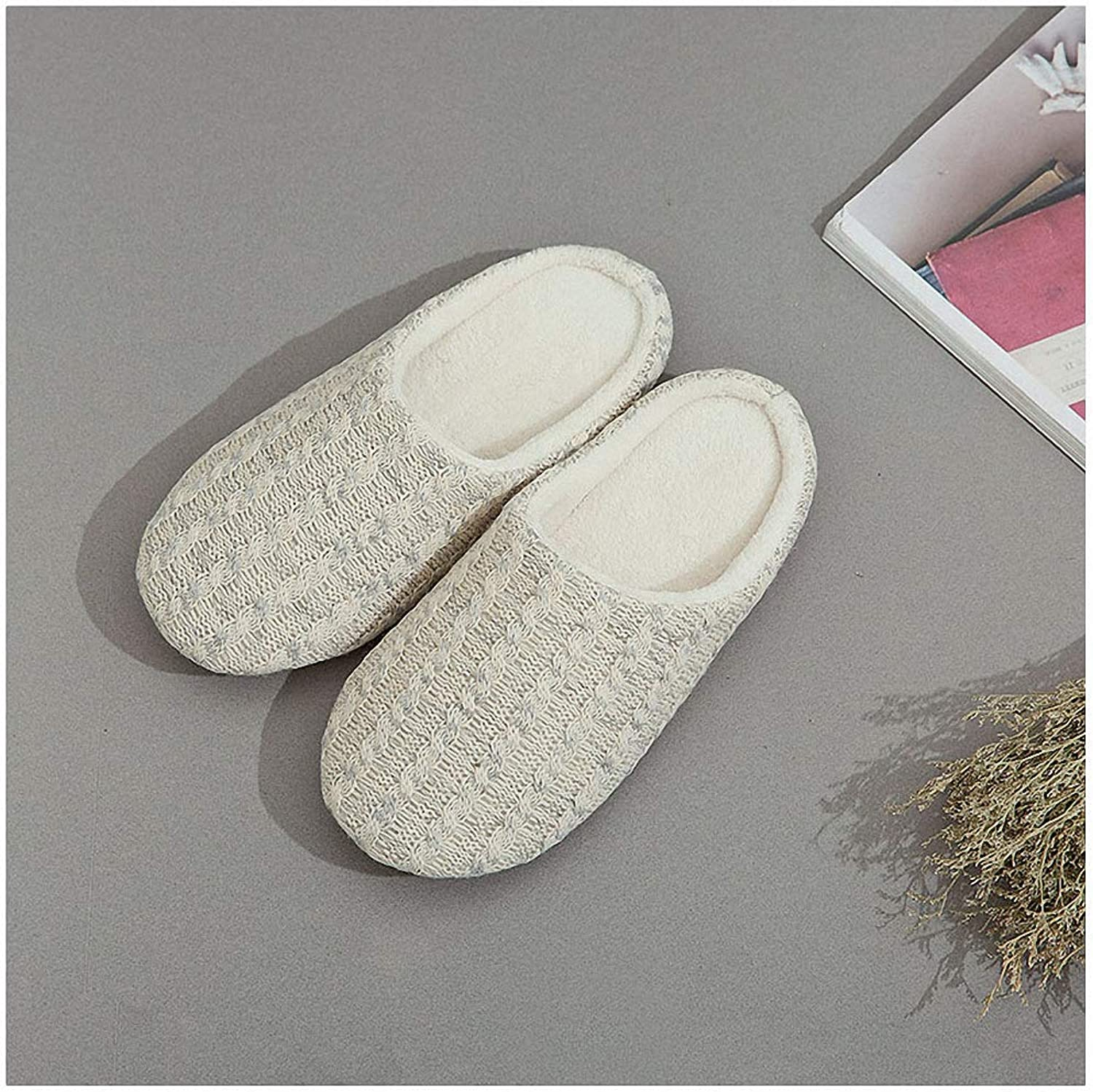 Womens Slippers Japanese Style Women Indoor Home Slippers Plush Slippers Ladies Cotton Autumn Knitting Cashmere Breathable Indoor Floor shoes