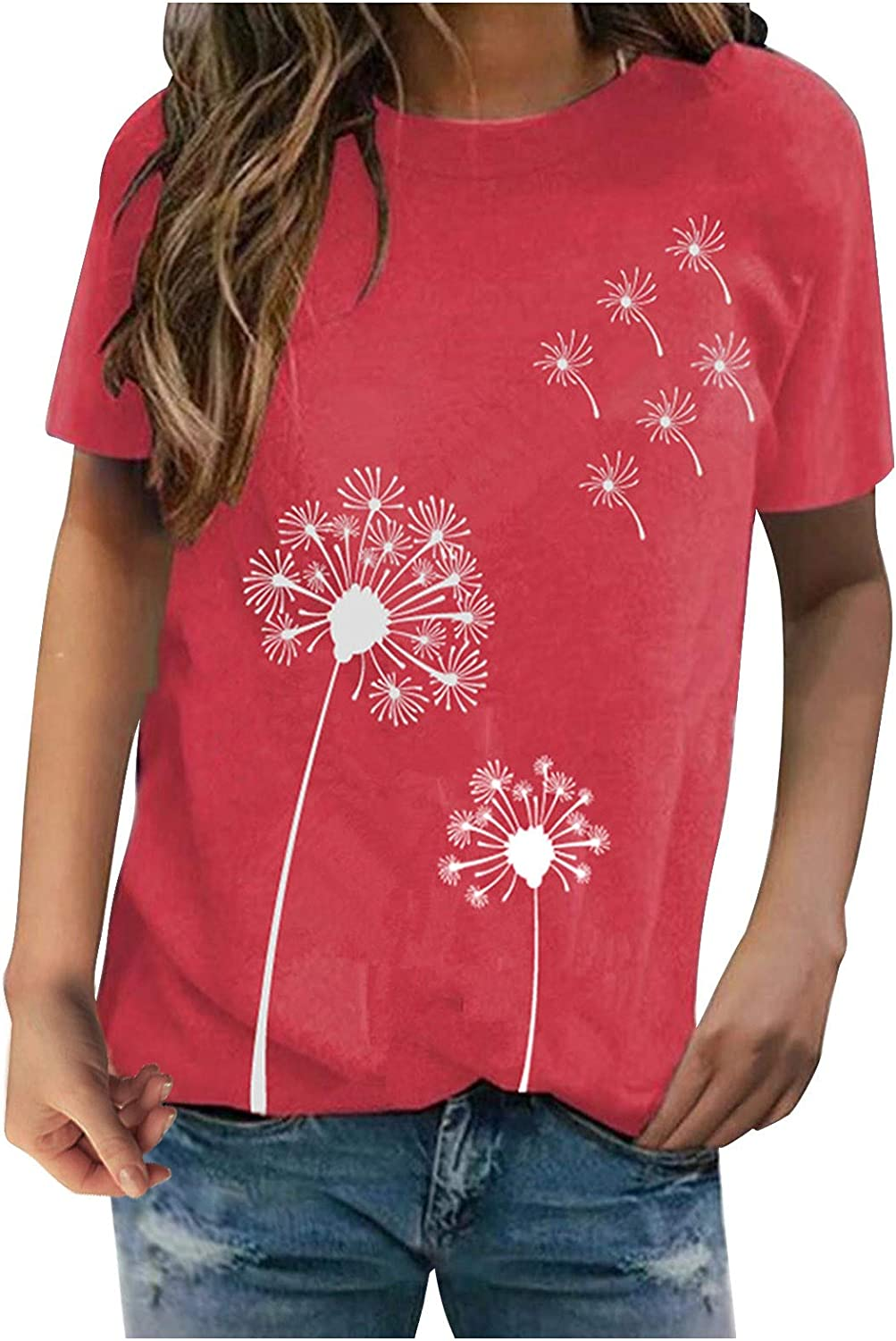 FUNEY Womens Max 49% OFF Plus Size Tucson Mall Short Dandelion Sleeve Shirt Butterfly T