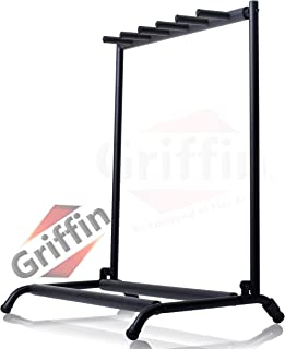 Five Guitar Rack Stand by Griffin | Holder for 5 Guitars & Folds Up For Easy Transport | Neoprene Tubing For Protection | Ideal For Music Bands, Recording Studios, Schools, Stage Performers & Artists