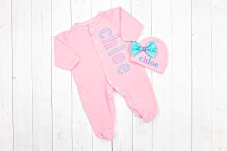 Infant Girl's Footed Pajamas Pink with Turquoise and Purple Checks Personalized Coming Home Outfit