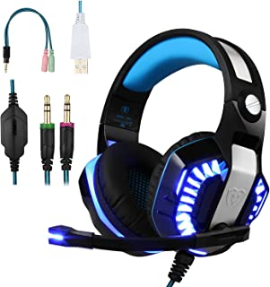 BlueFire Professional Stereo Gaming Headset for PS4, Xbox One Headphones with Mic and LED Lights for Playstation 4, Xbox O...