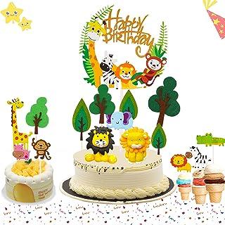 BOYATONG Tortendeko Tiere,Tortendeko Dschungel,Kuchendeko Geburtstag Junge,Tier Cake Topper,Happy Birthday Dschungel Girlande für Kinder Junge Mädchen
