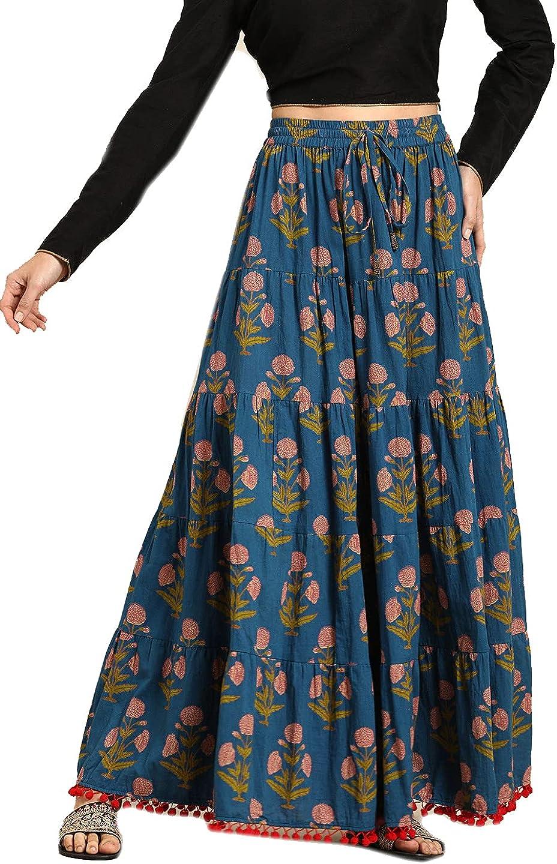 Cotton Skirt for Women Dress Wide Leg Elastic Waist Loose Pajama Maxi Yoga Comfy
