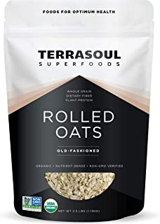 Terrasoul Superfoods Organic Rolled Oats, 2.5 lbs - Gluten-Free | Old-Fashioned | Whole Grain…