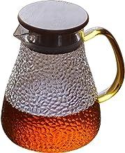 Dzbanek na wodę szklany dzbanek z pokrywką mrożoną i uchwytem borokrzemowy odporny na ciepło szklany dzbanek do herbaty/go...