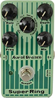 Aural Dream Super Ring Guitar Effects Pedal with 2 modes and 6 waves through adjusting rotary rate and fluctuating depth of Ring to simulate Tubular Bell,Chime and Bells sound,True bypass