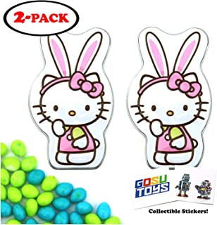 Hello Kitty Speckled Easter Eggs Bunny Tin Candy (2 Pack) Sweet Flavor Gift Stuffer with 2 GosuToys Stickers
