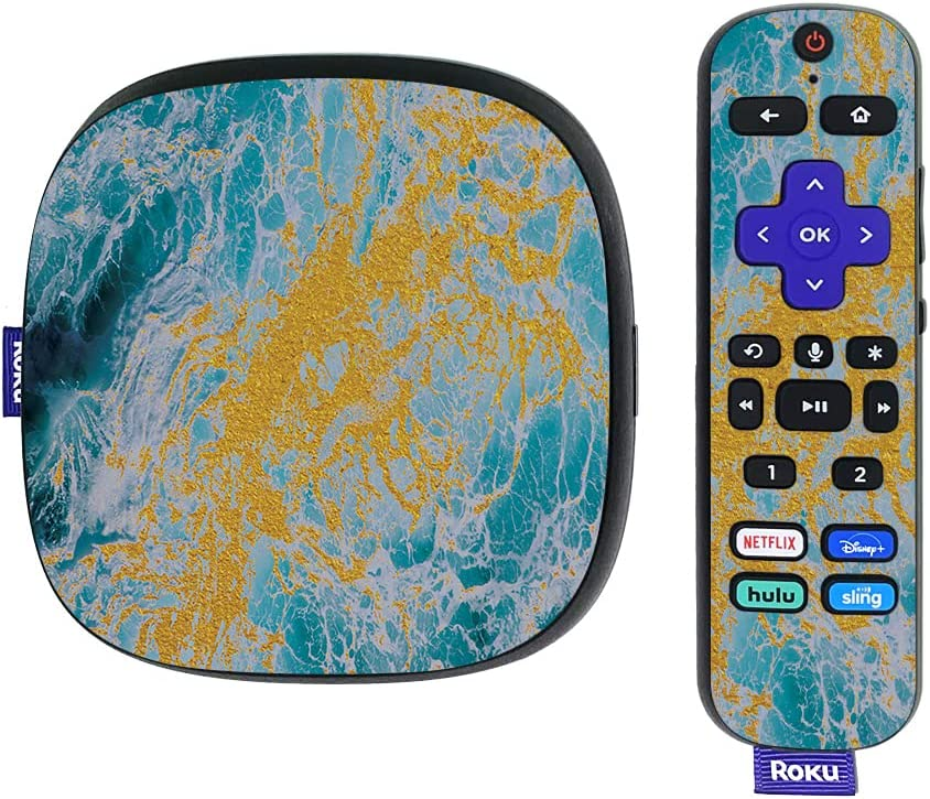 MightySkins Skin Compatible with Roku Ultra HDR 4K Streaming Media Player (2020) - Ocean Marble | Protective, Durable, and Unique Vinyl Decal wrap Cover | Easy to Apply | Made in The USA