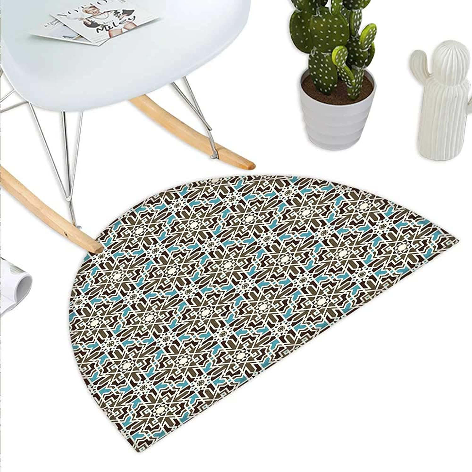 Brown and bluee Semicircle Doormat Arabesque Middle Eastern Inspired Mgoldccan Star Pattern Ornament Halfmoon doormats H 35.4  xD 53.1  Taupe Pale bluee Brown