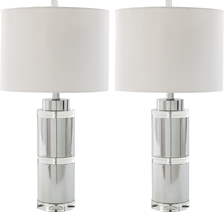Ashley Furniture Signature Design - Makram Table Lamps - Modern Style - Clear Chrome