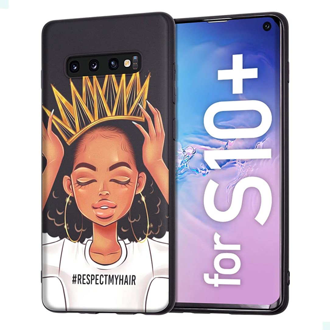 Samsung Galaxy S10 Plus Case African American Afro Girls Women Slim Fit Shockproof Bumper Cell Phone Accessories Thin Soft Black TPU Protective Samsung Galaxy S10 Plus Cases (09)