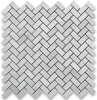 Crema Marfil Spanish Marble 5/8x1-1/4 Herringbone Mosaic Tile Polished