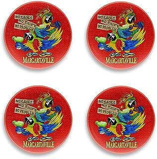 TarHong Margaritaville Tiki Bar Red Melamine Dinner Plates, Set of 4