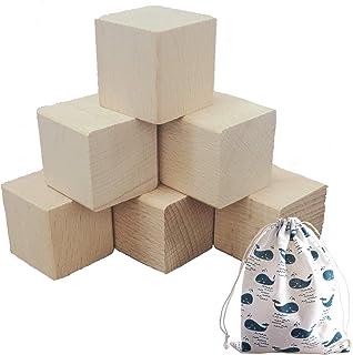 (ADOSSY) 積み木 木製 立方体 天然ブナ材 布巾着袋 セット (10個 ベーシック, 3cm)