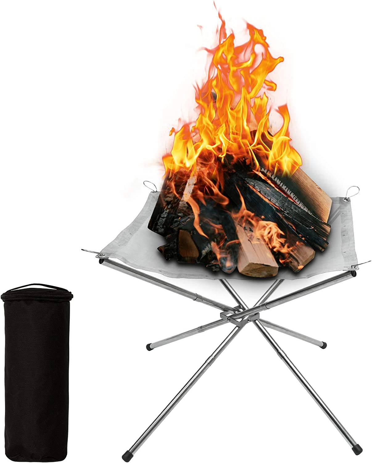 Portable Fire Pit,16.5'' Foldable Stainless Steel Portable Outdoor Camping Fire Pit Steel Mesh Fireplace for Camping Outdoor Patio Backyard and Garden