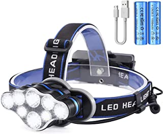 OUTAD Head Torch Rechargeable, 18000 Lumens Super Bright USB Headlight with 8 Modes, Waterproof Zoomable LED Headlamp with...