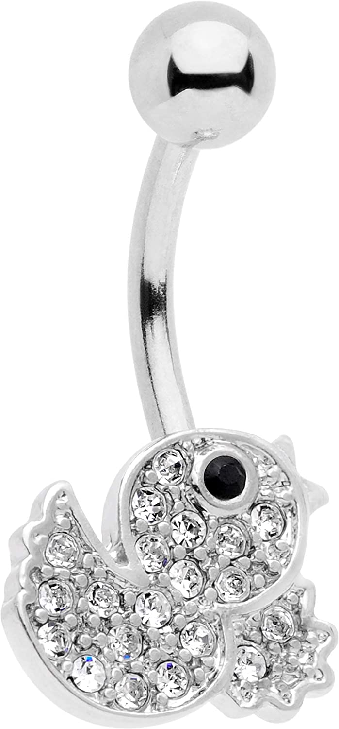 Body Candy Womens 14G 316L Steel Navel Ring Piercing Clear Black Accent Just Ducky Belly Button Ring