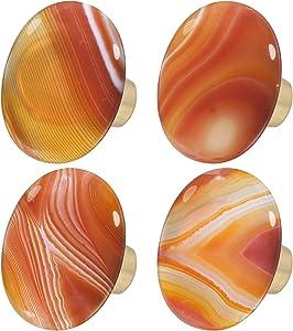 rockcloud Natural Orange Stripes Agate Stone Knob Drawer with Screws, Oval Rough Gemstone Pull Handle for Dresser Cabinet Wardrobe Hardware Accessories Home Furniture Decoration, 4 PCS