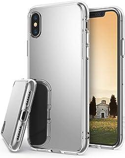 كفر ايفون اكس , iPhone X , رينجكي, إطار مرن شفاف, صلب مرايا من الخلف, فضي