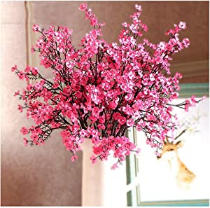 4Pcs Artificial Flowers Cherry Blossom Simulation Peach Branches Flowers Fake Silk Peach Flowers Sakura Bouquets Faux Peach Fake Plants for Wedding Home Indoor Decorative