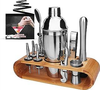 Cocktail shaker set 12 stycken 1 cocktailbok rostfritt stål cocktail blandningsshaker set med trästativ