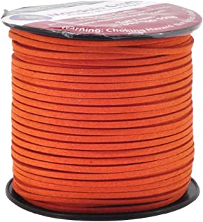 Mandala Crafts 100 Yards 2.65mm Wide Jewelry Making Flat Micro Fiber Lace Faux Suede Leather Cord (Orange)