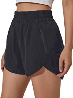 Women's Running Shorts Elastic High Waisted Shorts Pocket...