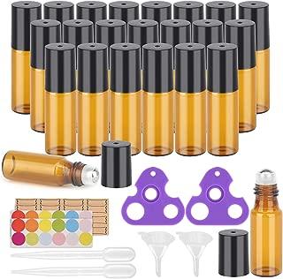 Essential Oil Roller Bottles, 24 Pack Amber Glass Roller Bottles 5ml, Roller Balls for Essential Oils, Roll on Bottles by Easytle (96 Pieces Labels, 4 Funnels, 4 Dropper, 2 Opener)