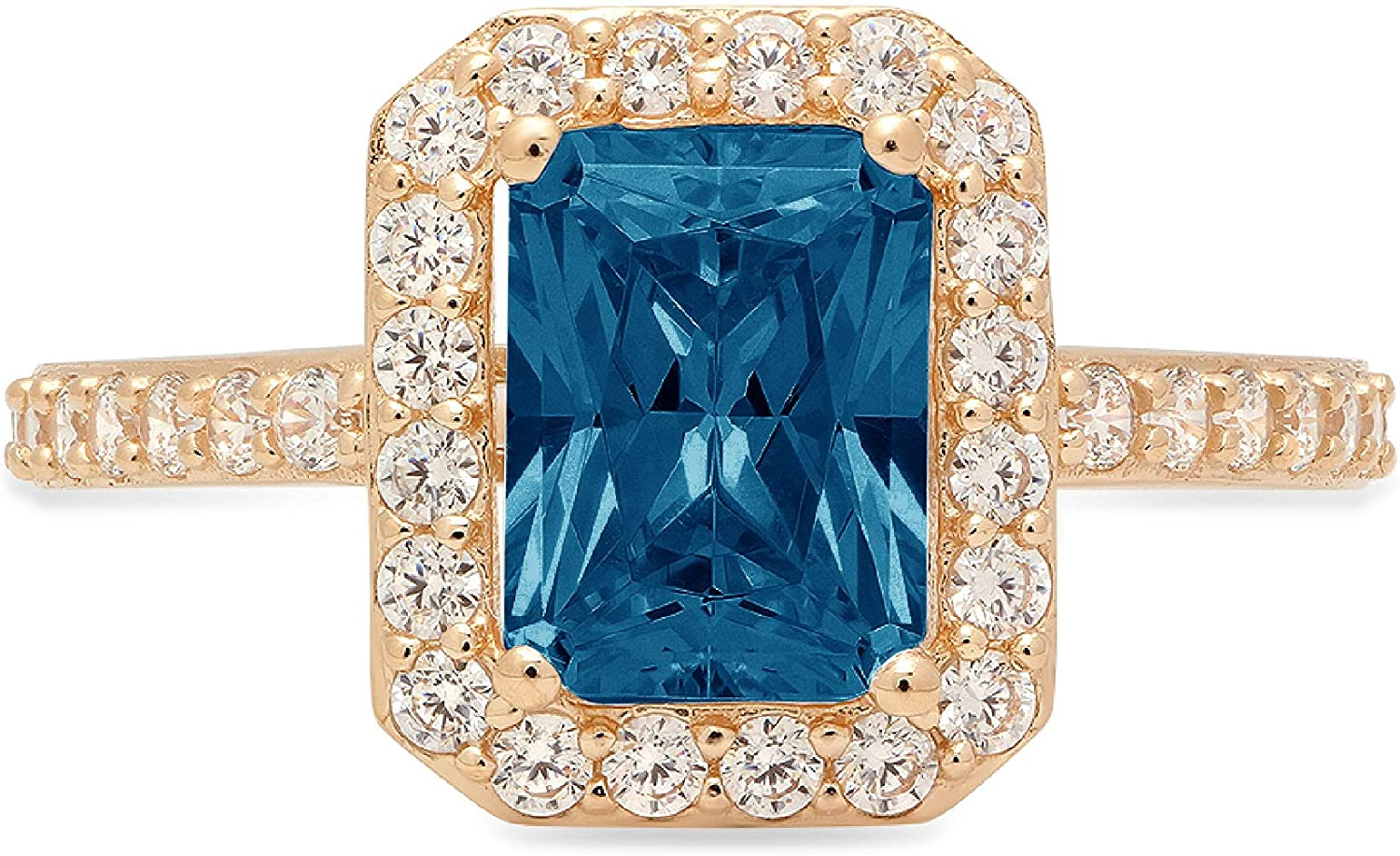Clara Pucci 2.17 Brilliant Emerald Cut Solitaire Accent Halo Stunning Genuine Flawless Natural London Blue Topaz Gem Designer Modern Ring Solid 18K Yellow Gold